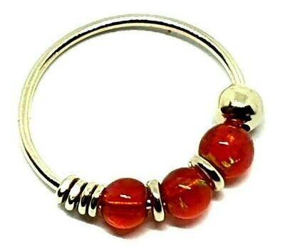 Nose Ring 9k Gold 8mm 22 Gauge 0 6mm 3 Orange Opal Beads Septum Tragus Earring Ebay