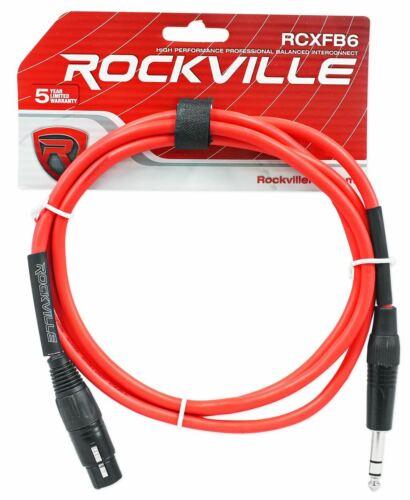6 Rockville 6/' Female Rean XLR to 1//4/'/' TRS  Cables 6  Colors