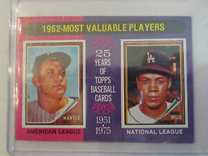 1962 Most Valuable Players Topps 200 Baseball Card In Great