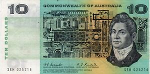 1967-AUSTRALIAN-COOMBS-RANDALL-10-Note-VF-SERIAL-NUMBER-SEH-025216