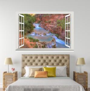 3D Trees River 636 Open Windows WallPaper Murals Wall Print Decal Deco AJ Summer