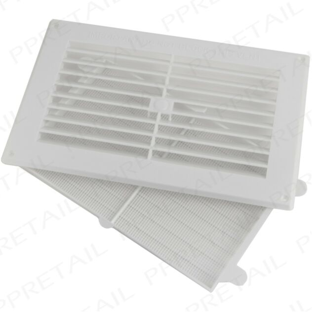 9 x 6 White Plastic Adjustable Air Vent Grille With Flyscreen Cover