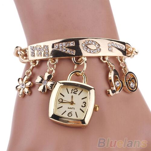 Women's New Fashion Love Rhinestone Stainless Steel Chain Bracelet Wrist Watch