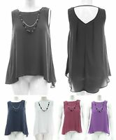 Womens Size S, M, L, Xl Sleeveless Necklace Top Black White Red Violet *LICK*