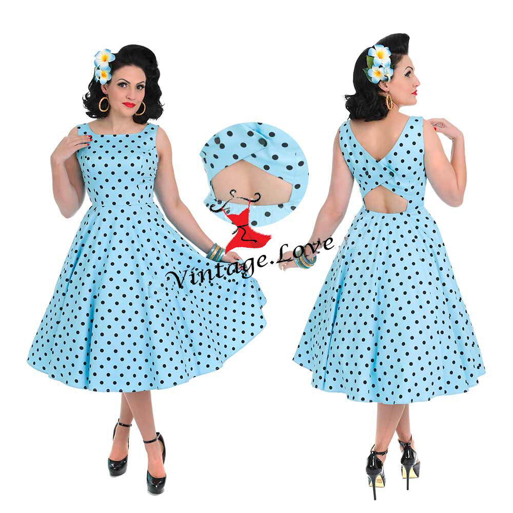 Hearts & rosas Cielo Blu Nero A Pois Pois Pois 50s Rockabilly prom Cut-Out Swing Abito 72fc24