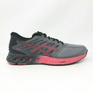 Asics Womens FuzeX T689N Gray Red Black Running Shoes Lace Up Low Top Size 7.5