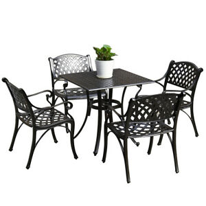 Outdoor Dining Set Patio Cast Aluminum Bistro Table Chairs Bronze ...