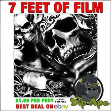 Hydrographic Film Skulls And Roses Rose From The Dead Dip Dipping 7x20 Dip Ape