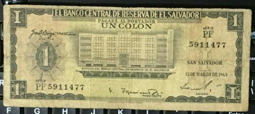 EL SALVADOR 1 COLON 12-MAR-63  PF PRINTED BY TDLR BUILDING OF CENTRAL BANK