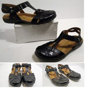 Womens Black T-Strap Leather ROCKPORT