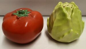 Vintage-Australian-Pottery-Wembley-Ware-Tomato-Salt-amp-Lettuce-Pepper-c1946-61