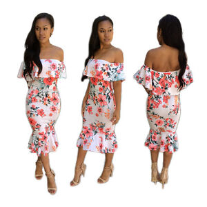 Image is loading Women-Bodycon-Dress-Off-Shoulder-Ruffled-Floral-Mermaid- d3bafc102