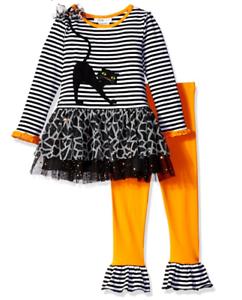 Bonnie-Jean-Baby-Girls-Black-Cat-Halloween-Orange-Legging-Set-12-18-24-Months