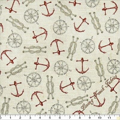 """QUILTING TREASURES /""""SEASIDE/"""" #24655-E ANCHORS NAUTICAL FABRIC SELECT SIZE"""