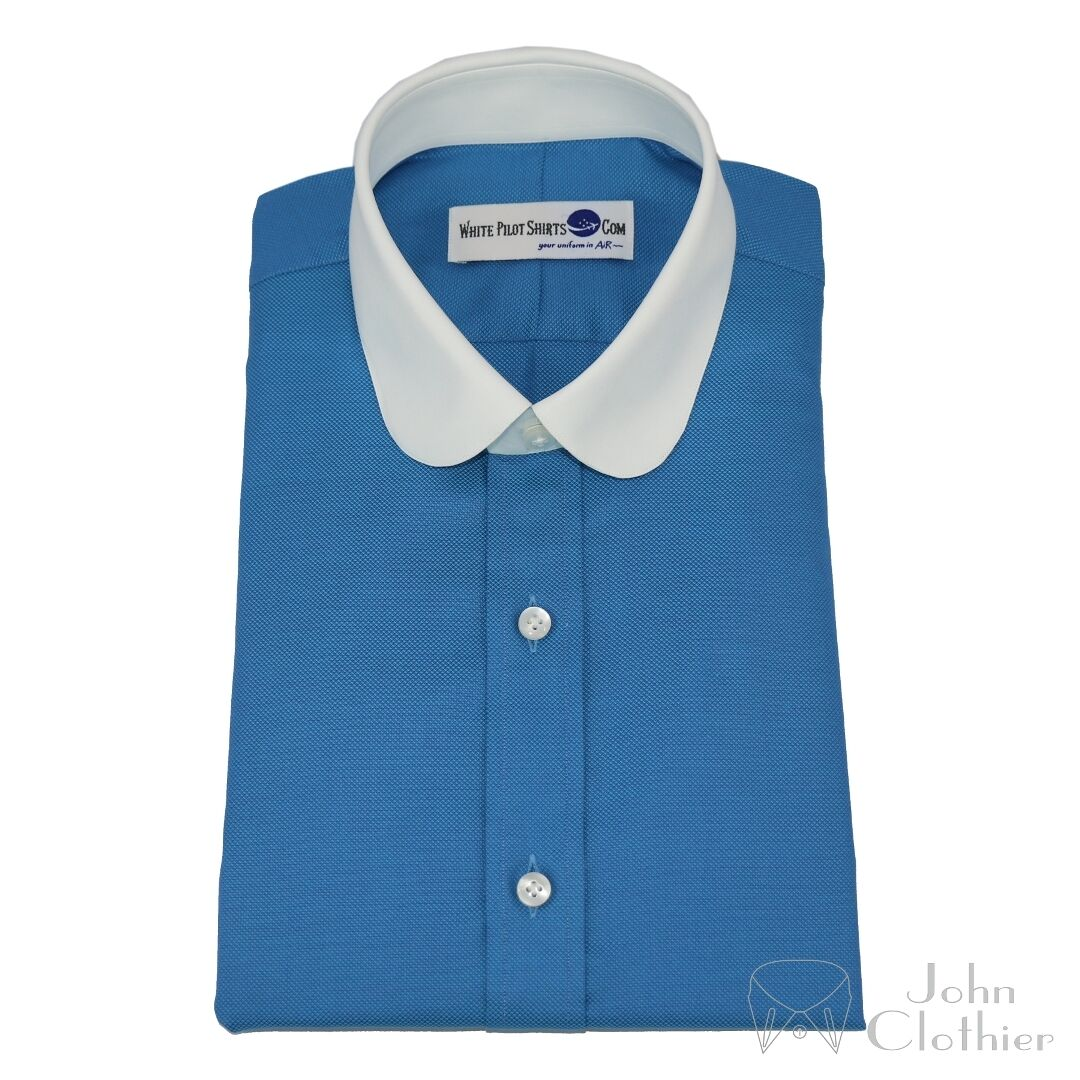 Herren Penny Kragen Bankier Hemd Meeresblau Rund Club für Moderne Passen