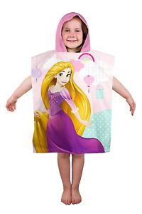 Child Disney Princess Rapunzel Print Towel Kids Beach Bath Hooded Poncho Towel