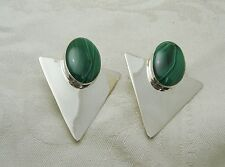 "VINTAGE SIGNED ""SJ"" MALACHITE STERLING SILVER PIERCED EARRINGS R55-F"