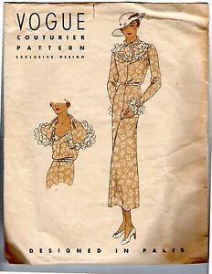 Vintage-Sewing-Pattern-Vogue-Couturier-232-Dress-1930-039-s-Bust-34-034