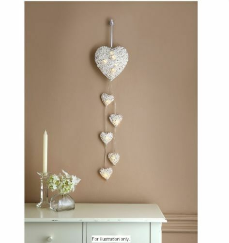 New Christmas 6 Led White Rattan Hanging String Heart Lights Battery Operated