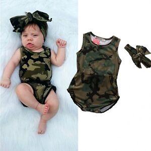 AU-Cute-Infant-Baby-Girls-Camo-Romper-Bodysuit-Jumpsuit-Headband-Clothes-0-24M
