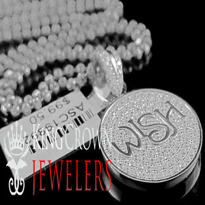 Details about 10K White Gold On Silver Simu Diamond Wish Good Luck Pendant  Lucky Charm +Chain