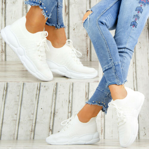 Neu Bequeme Plateau Sneaker Damenschuhe Weiß Sportschuhe Praxis Pflege 0003