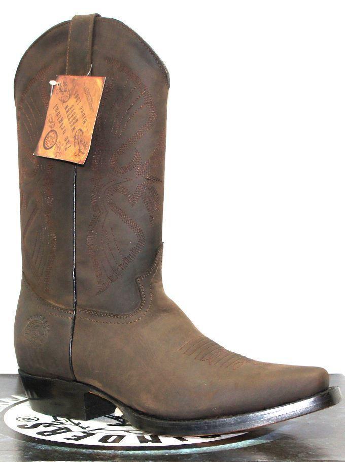 Grinders da Uomo Cowboy Louisiana Marrone Vera Pelle Cowboy Uomo Western A Punta Stivali f59a7c
