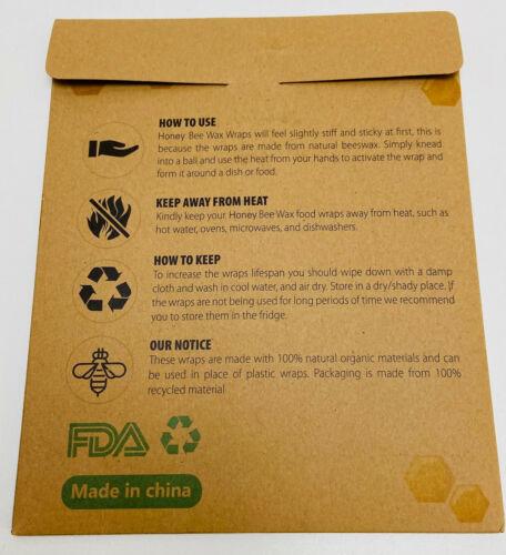 Bienenwachstücher 3 er Set wiederverwendbare natürliche Lebensmittelverpackung