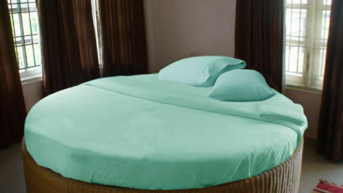 ROUND BED BEDDING ITEMS 1000TC EGYPTIAN COTTON AQUA SOLID STRIPE US SIZES'