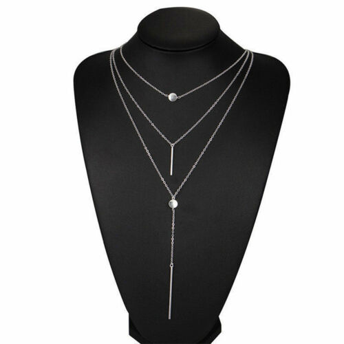 Multi layer Fashion Womens Alloy Choker Necklace Charm Chain Jewelry Gold Silver
