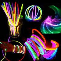"New 100/200Pcs Multi Color Glow Stick Light Bracelets Party Fun Glow Bracelet 8"""
