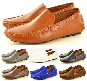 Hombre-Simil-ante-Informal-Mocasines-Zapatos-sin-Cierres-Disponible-Gb-Tallas