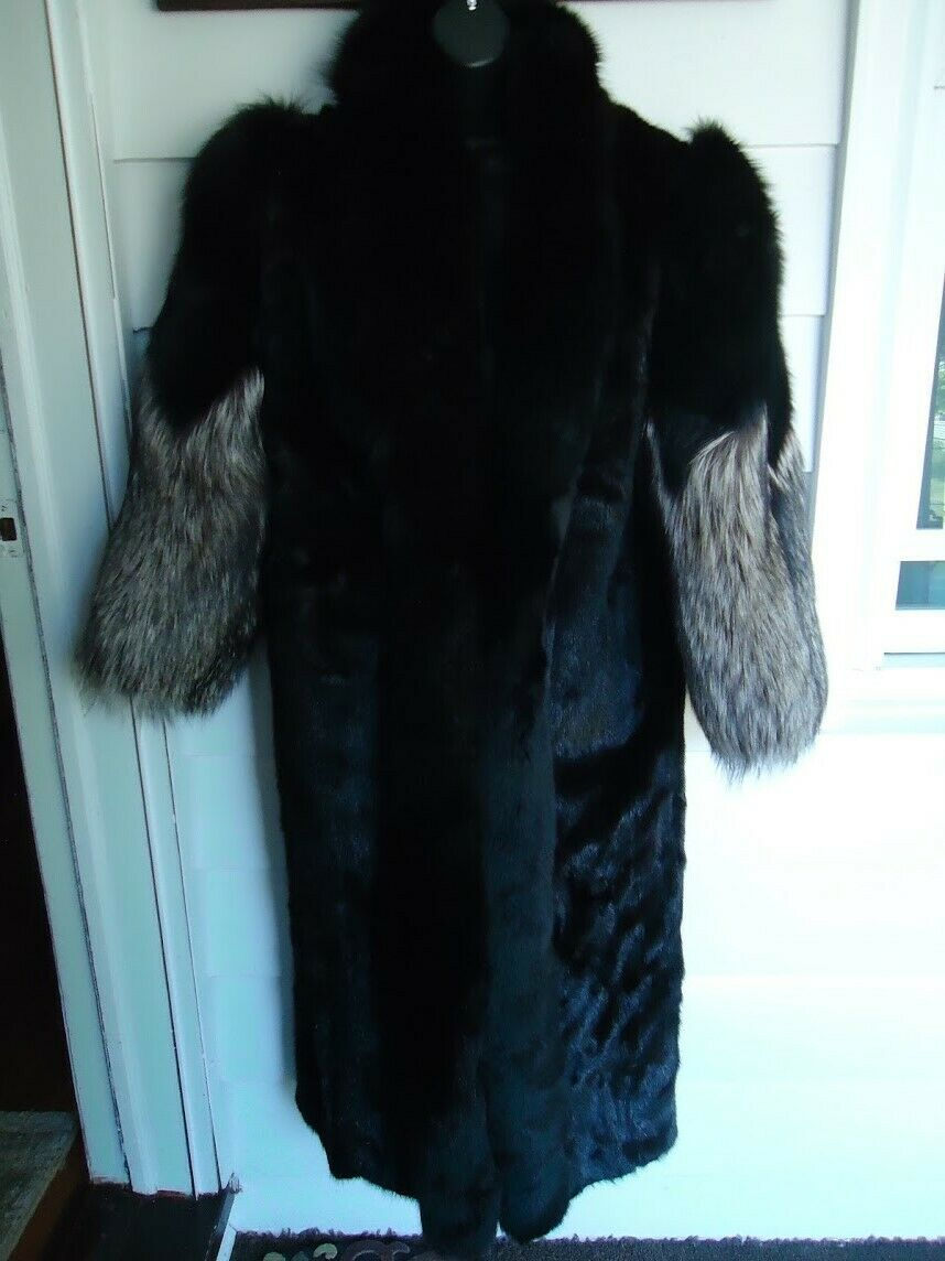 Furs by A.B.D. Lichtenstein Original Fur Creations Fur Coat Long Black/Gray