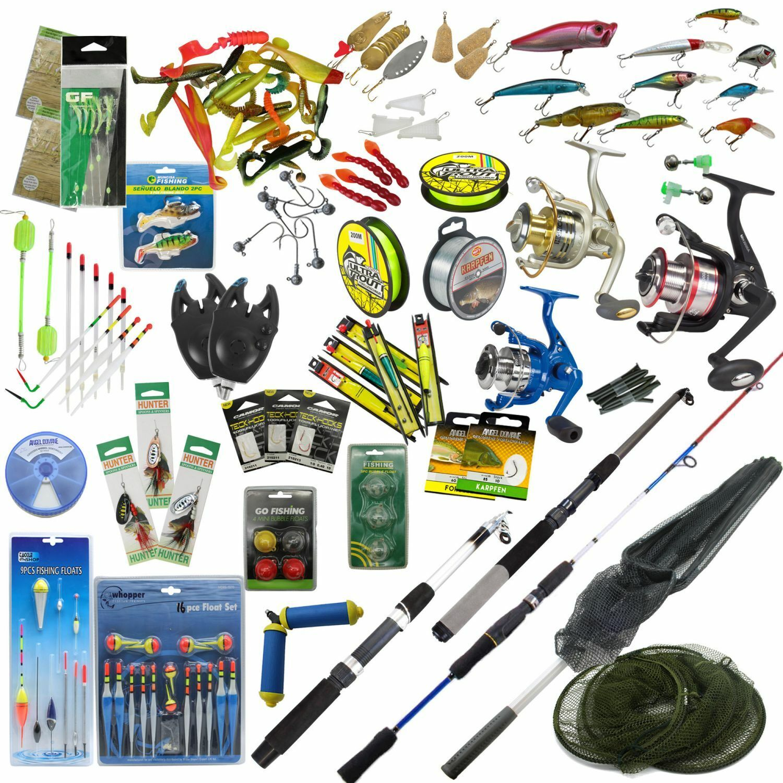 Tua portata pesca 3 canne 3 rossoOLI FILO SET COMPLETO accessori ESCHE circa 150tlg