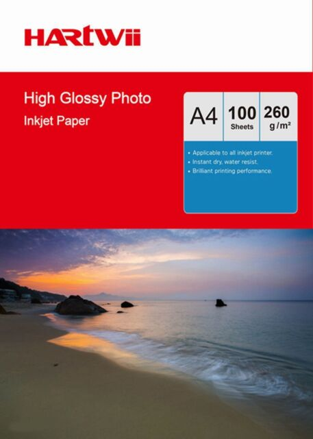 100 Sheets A4 260 Gsm High Glossy Photo Paper Thick Inkjet Paper Printing Uinkit