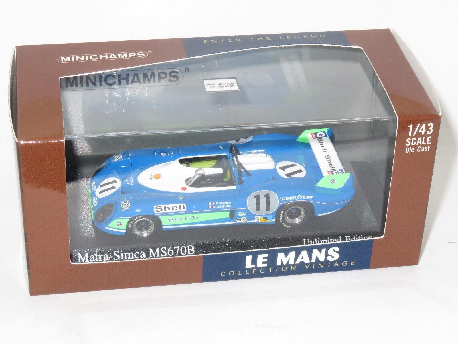 El nuevo outlet de marcas online. 1 43 Matra Simca MS670B Ganadores Le Mans Mans Mans 24 HRS 1973 G. Larrousse H. PESCocheOLO  promociones de equipo