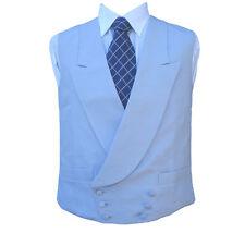 "Double Breasted Irish Linen Waistcoat in Powder Blue 42"" Long"