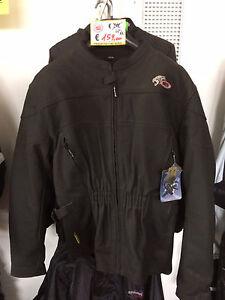 Giacca-Jacket-Moto-Pelle-MTF-Nera-Custom-Lunga-Sfoderabile-Protezioni-XL