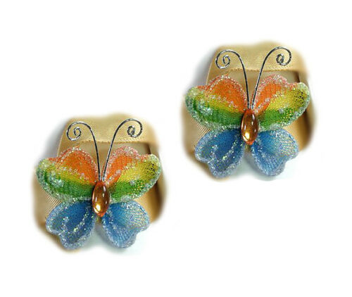 pack of 2 Embellishments 3.5 x 2.5cm approx Rainbow Butterfly BN1830