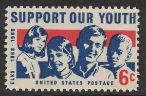 Scott-1342-Sostegno-Our-Youth-Elks-Centennial-Mnh-6c-1968-Non-Usato-Mint