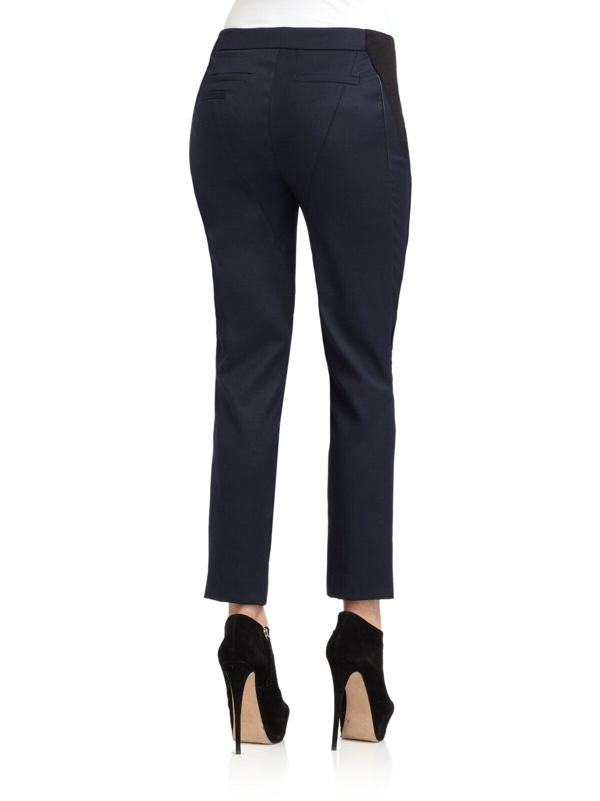 New Cut 25 by Yigal Azrouel Leather Trim Navy bluee Gabardine pants trousers 10