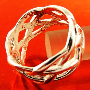 Ring-Genuine-Real-925-Sterling-Silver-S-F-Solid-Ladies-Celtic-Design-Size-8