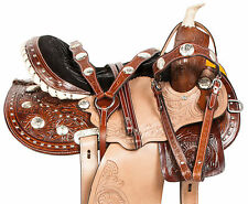 GAITED 14 15 16 BARREL RACING WESTERN TOOLED LEATHER BLINGY HORSE SADDLE TACK