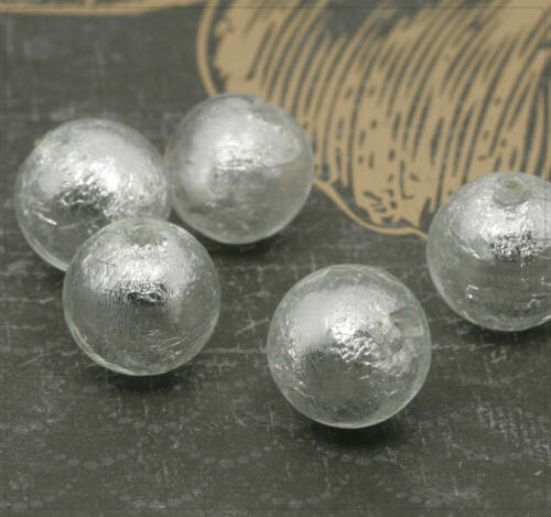 4x Glasperlen Silberfolie handmade Rund Schmuck Basteln Perlen DIY Farbwahl 14mm