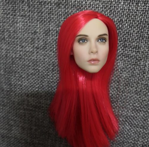 """1//6 Head Sculpt Red Planted Hair PVC Model Fit 12/"""" Female Body Xmas Gift"""
