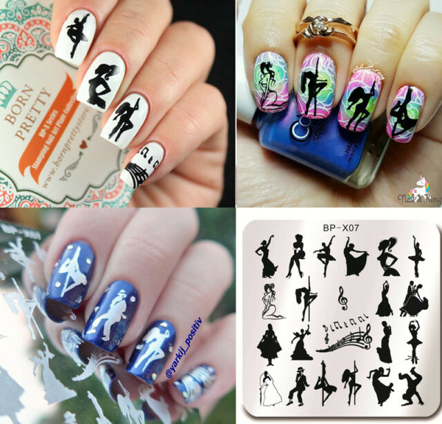 BORN PRETTY Nail Art Stamping Plates Girl Image Stamp Template 6*6cm BP-X07