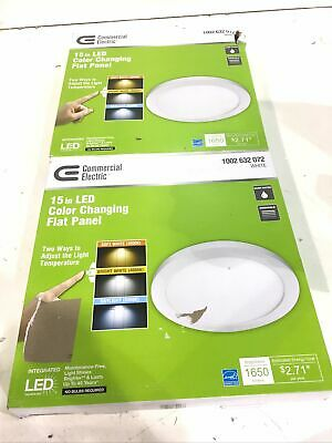White LED Edge-Lit Flat Round Panel Flushmount Commercial Electric 11 in