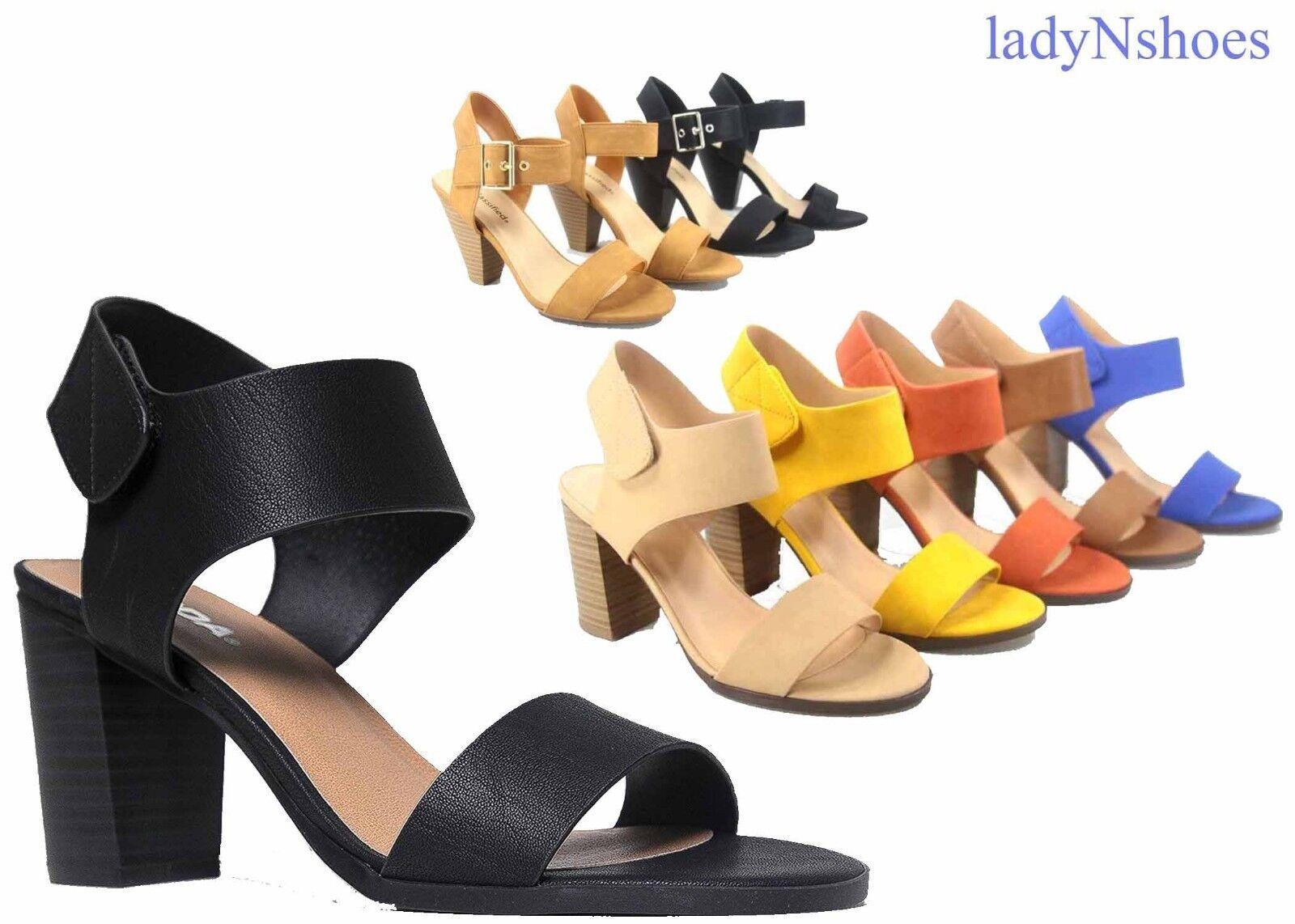 NEW Women's Open Toe Chunky Heel Ankle Strap Dress - Sandal Shoes Size 5.5 - Dress 11 6926b8
