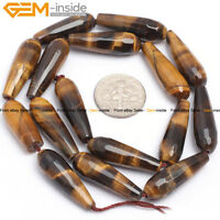 Teardrop Faceted / Smooth Yellow Tiger Eye Gemstone Jewelry Making Beads 15""