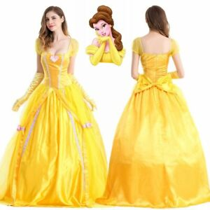 New Princess Belle Costume Beauty And The Beast Cosplay Adult Women Fancy Dress
